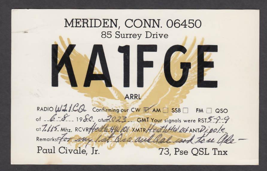Image for KA1FGE Paul Civale 85 Surrey Dr Meriden CT QSL postcard 1980