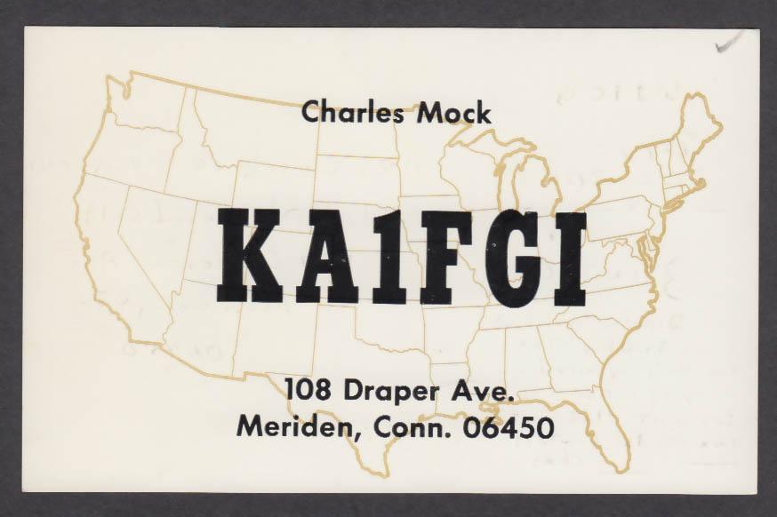Image for KA1FGI Charles Mock 108 Draper Ave Meriden CT QSL postcard 1980