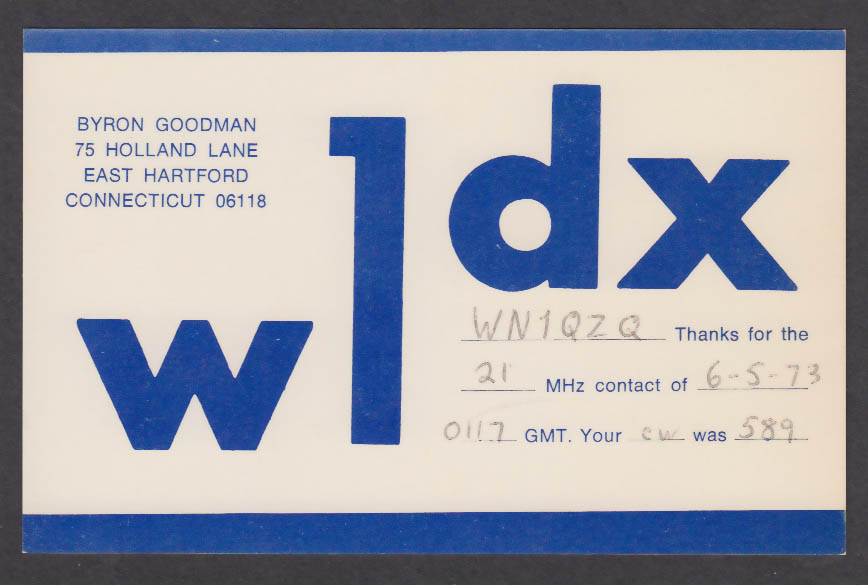 Image for W1DX Byron Goodman 75 Holland Lane East Hartford CT QSL postcard 1973