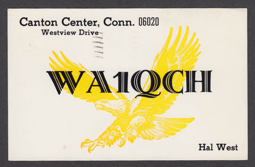 Image for WA1QCH Hal West Canton Center CT QSL postcard 1975