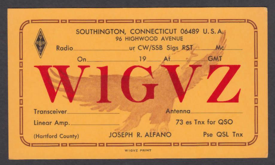 Image for W1GVZ Joseph Alfano Southington CT QSL postcard
