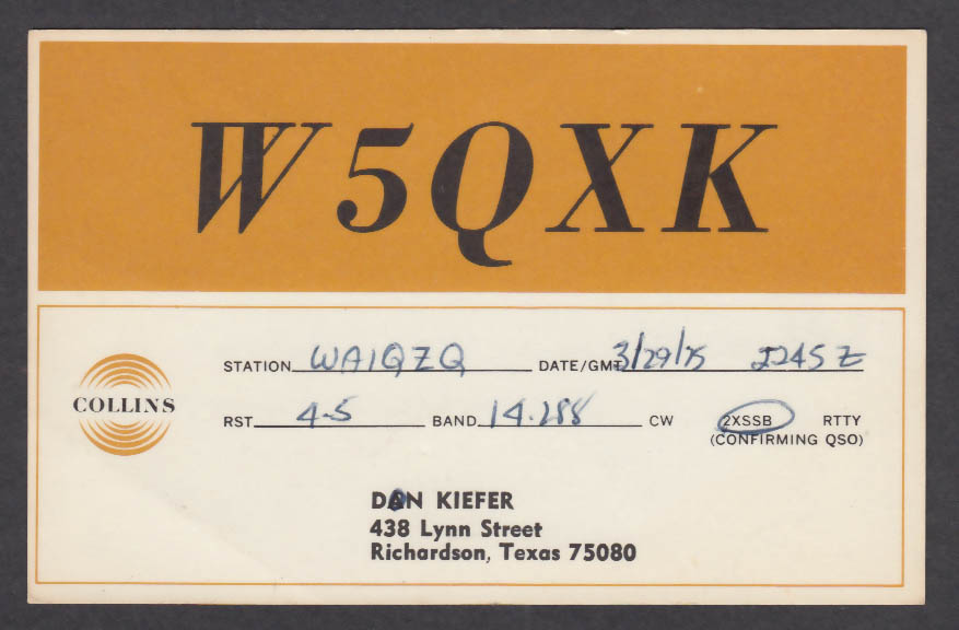 Image for W5QXK Don Kiefer 438 Lynn St Richardson TX QSL postcard 1975