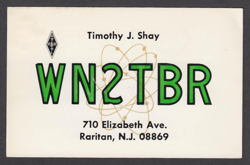 Image for WN2TBR Timothy Shay 710 Elizabeth Ave Raritan NJ QSL postcard 1974