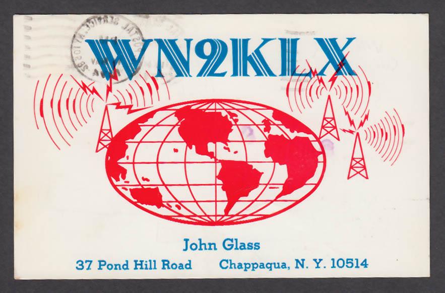 Image for WN2KLX John Glass 37 Pond Hill Rd Chappaqua NY QSL postcard 1974