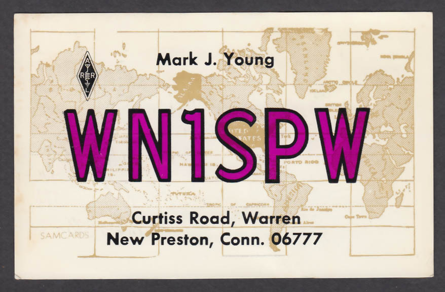 Image for WN1SPW Mark Young Curtiss Road New Preston CT QSL postcard 1974