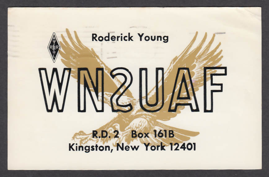 Image for WN2UAF Roderick Young Kingston NY QSL postcard 1974