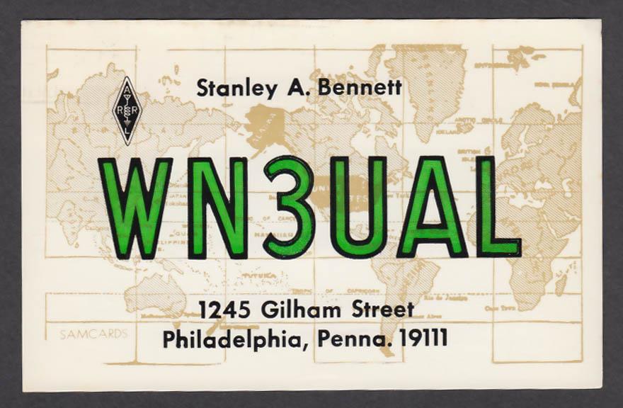 Image for WN3UAL Stanley Bennett 1245 Gilham St Philadelphia PA QSL postcard 1974