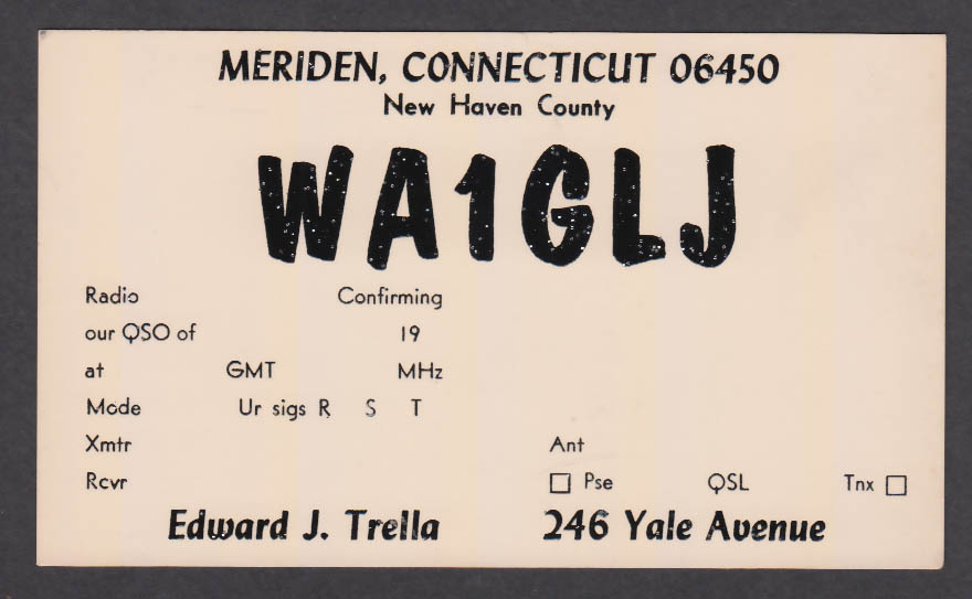 Image for WA1GLJ Edward Trella 246 Yale Ave Meriden CT QSL postcard