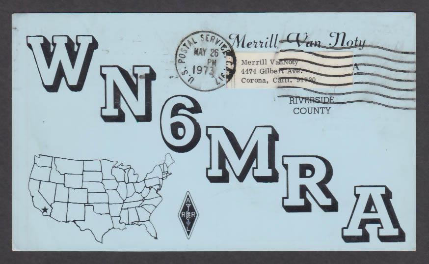 Image for WN6MRA Merrill Van Noty QSL postcard 1973