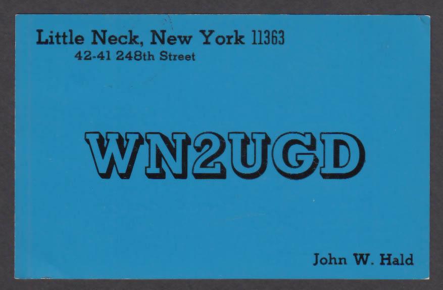 Image for WN2UGD John W Hald Little Neck NY QSL postcard 1974
