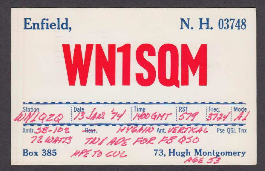 Image for WN1SQM Hugh Montgomery Enfield NH QSL postcard 1974