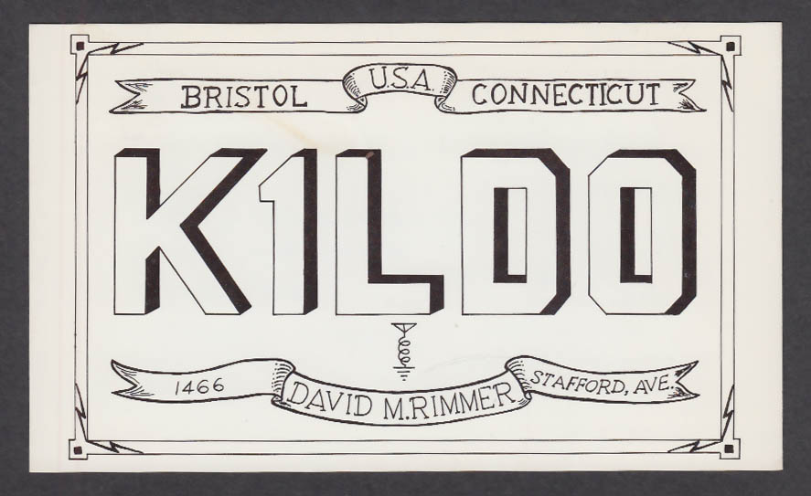 Image for K1LDO David Rimmer Bristol CT QSL postcard 1976