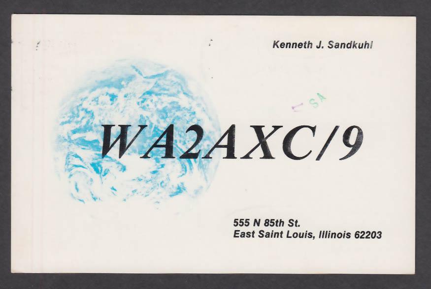 Image for WA2AXC Kenneth Sandkuhi 555 N 85th St East Saint Louis IL QSL postcard 1981