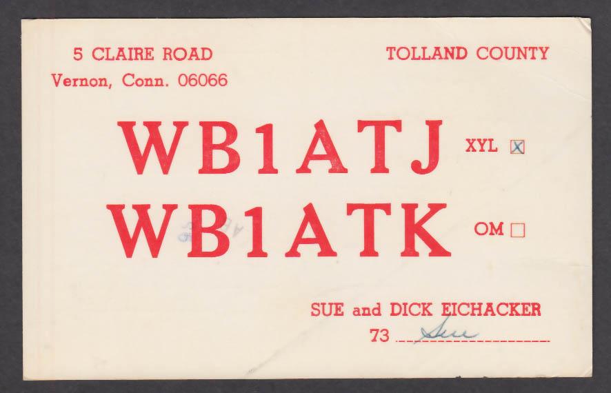 Image for WB1ATJ Sue & Dick Eichacker 5 Claire Rd Vernon CT QSL postcard 1977