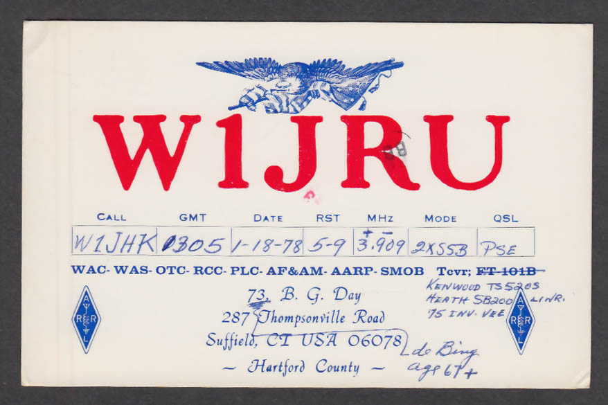 Image for W1JRU B G Day 287 Thompsonville Rd Suffield CT QSL postcard 1978