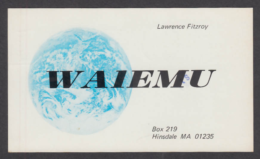 Image for WA1EMU Lawrence Fitzroy Hinsdale MA QSL postcard 1978