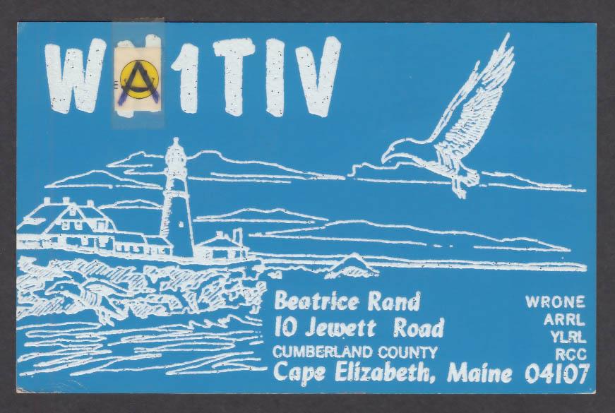 Image for WA1TIV Beatrice Rand 10 Jewett Rd Cape Elizabeth ME QSL postcard 1976