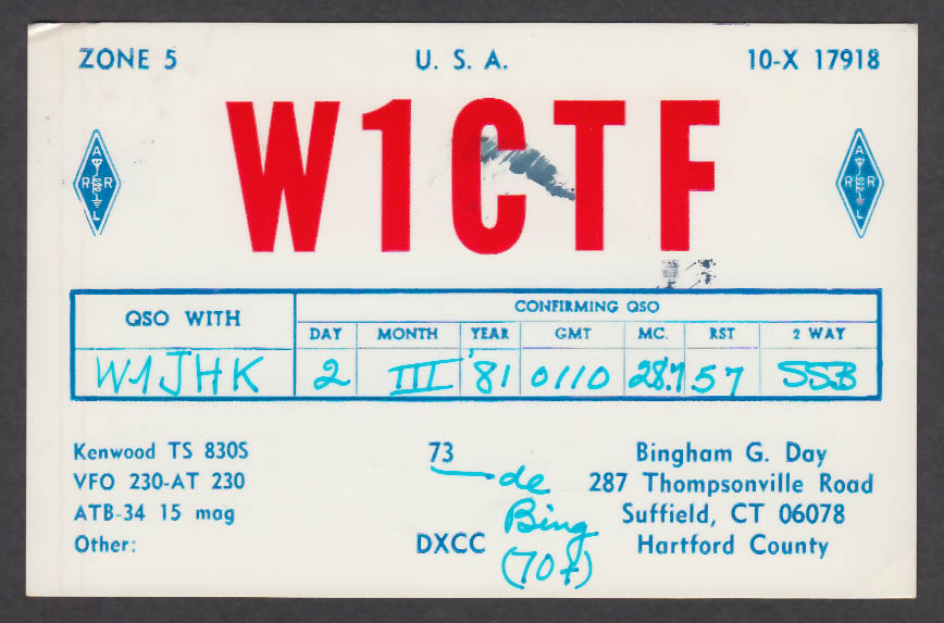 Image for W1CTF Bingham Day 287 Thompsonville Rd Suffield CT QSL postcard 1981