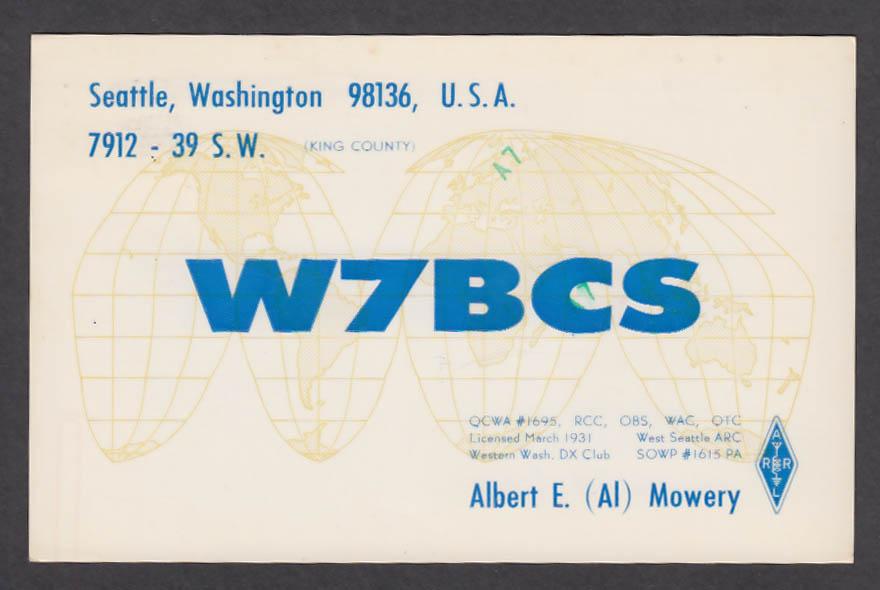 Image for W7BCS Albert Mowery Seattle WA QSL postcard 1975