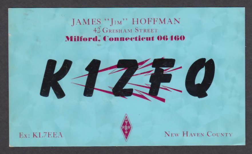 Image for K1ZFQ James Hoffman 42 Gresham St Milford CT QSL postcard 1967