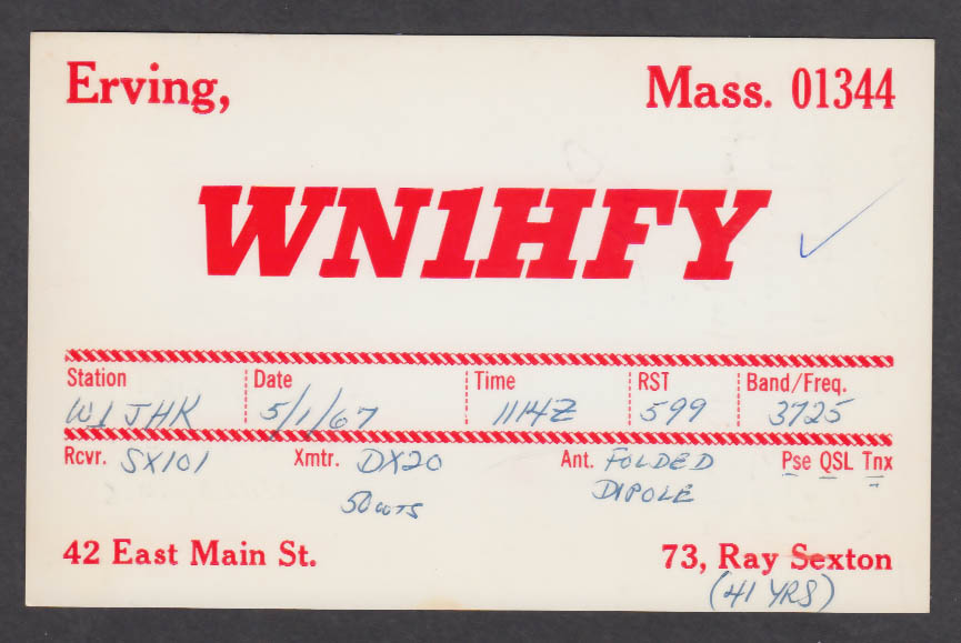 Image for WN1HFY Ray Sexton 42 East Main St Erving MA QSL postcard 1967