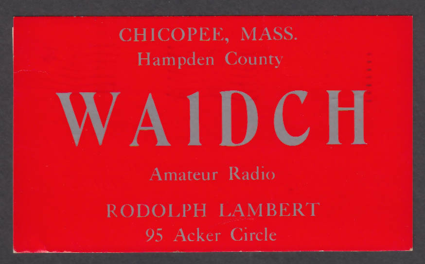 Image for WA1DCH Rodolph Lambert Chicopee MA QSL postcard 1966
