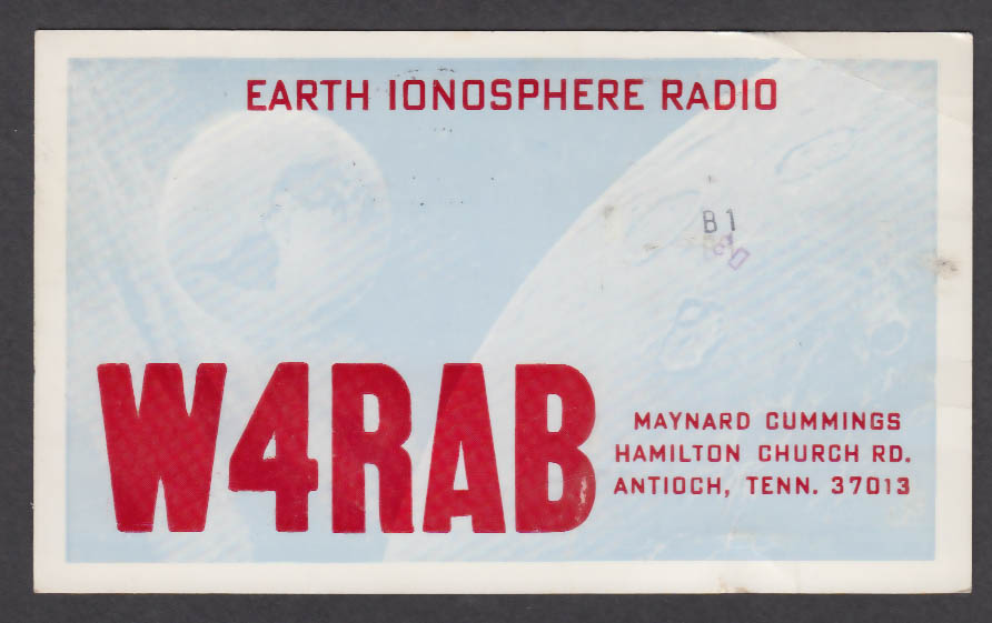 Image for W4RAB Maynard Cummings Hamilton Church Rd Antioch TN QSL postcard 1976