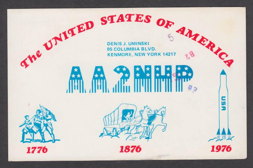 Image for AA2NHP Denis J Uminski 95 Columbia Blvd Kenmore NY QSL postcard 1976