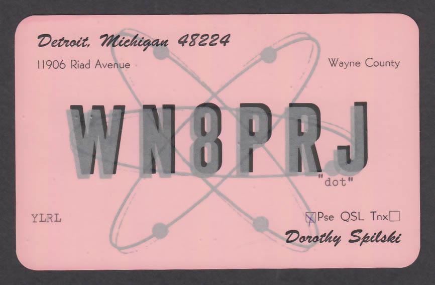 Image for WN8PRJ Dorothy Spilski 11906 Riad Ave Detroit MI QSL postcard 1973