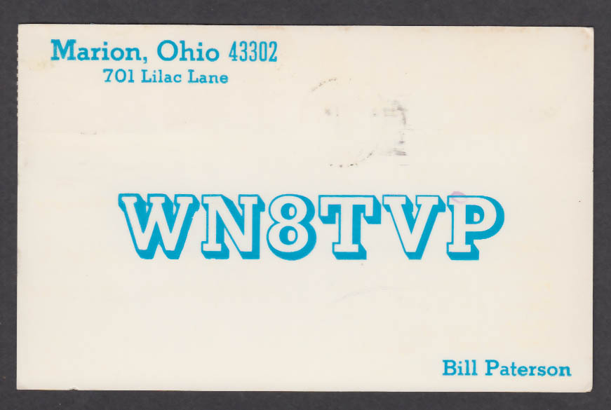 Image for WN8TVP Bill Paterson 701 Lilac Lane Marion OH QSL postcard 1975