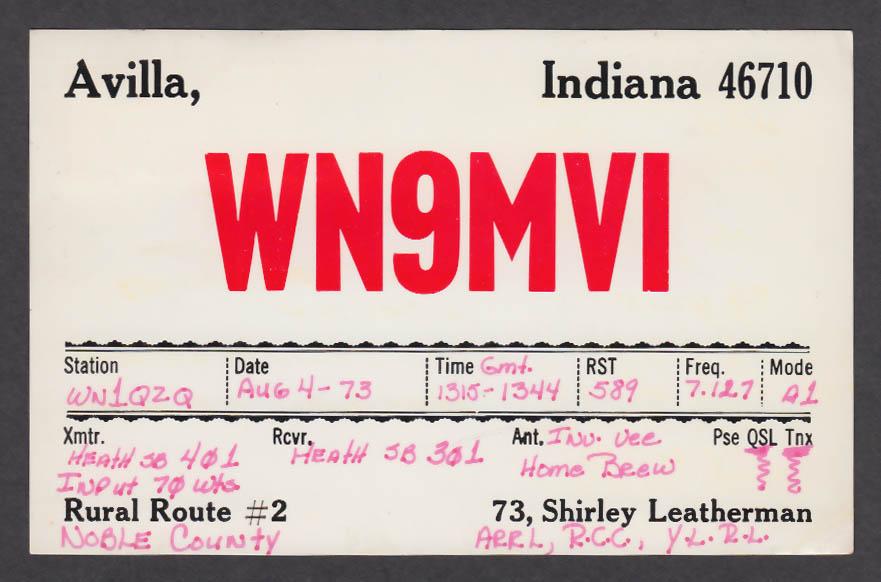 Image for WN9MVI Shirley Leatherman Avilla IN QSL postcard 1973