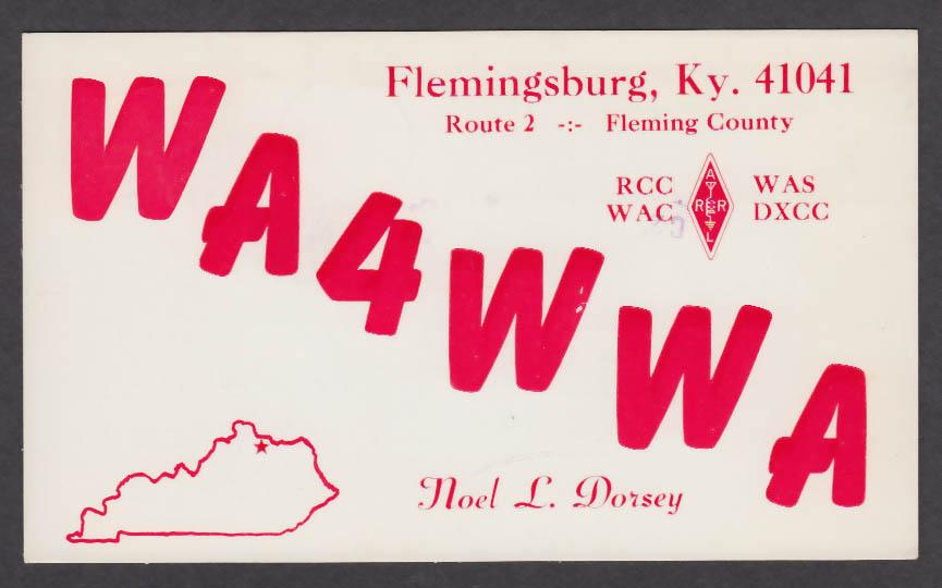 Image for WA4WWA Noel Dorsey Flemingsburg KY QSL postcard 1976