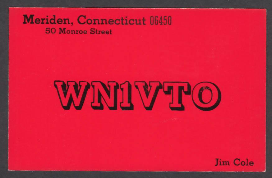Image for WN1VTO Jim Cole 50 Monroe St Meriden CT QSL postcard 1975