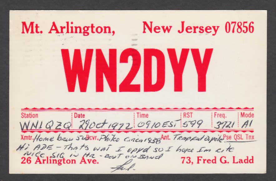 Image for WN2DYY Fred Ladd Mt Arlington NJ QSL postcard 1972
