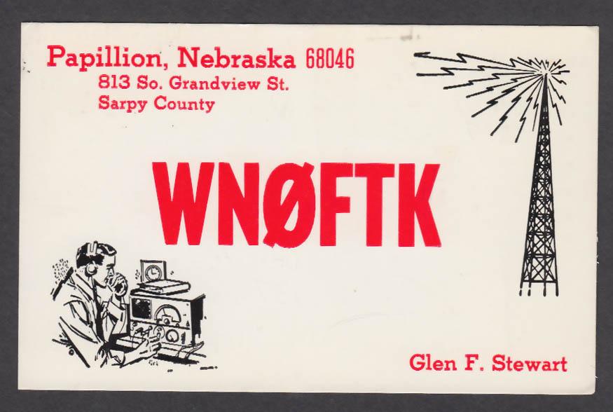 Image for WN0FTK Glen Stewart Papillion NE QSL postcard 1973