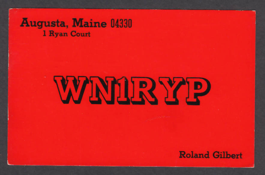 Image for WN1RYP Roland Gilbert Augusta ME QSL postcard 1974