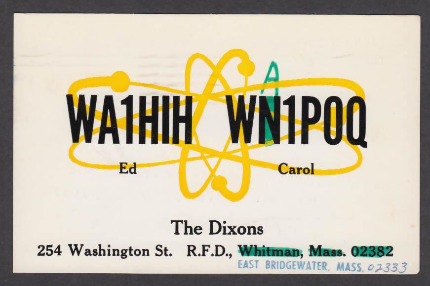 Image for WA1HIH Dixons 254 Washington St East Bridgewater MA QSL postcard 1974