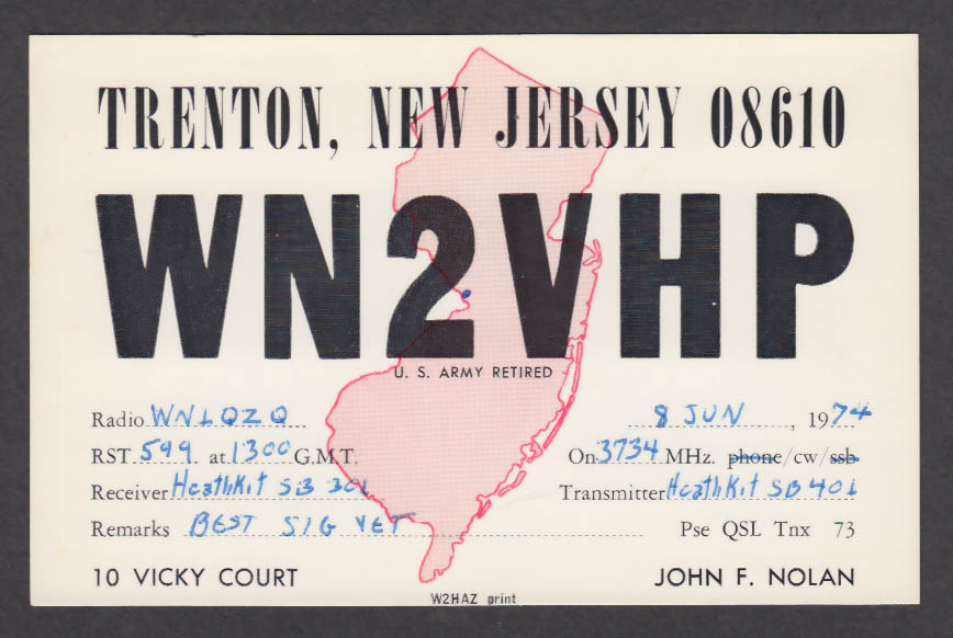 Image for WN2VHP John Nolan 10 Vicky Court Trenton NJ QSL postcard 1974