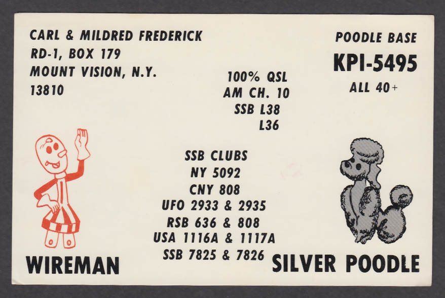 Image for KPO-5495 Wireman Silver Poodle QSL postcard 1980