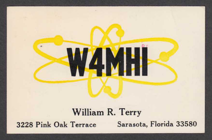 Image for W4MHI William Terry 3228 Pink Oak Terrace Sarasota FL QSL postcard 1976