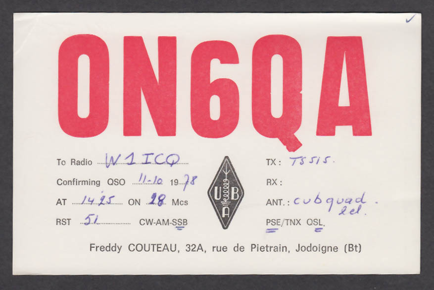 Image for ON6QA Freddy Couteau QSL postcard 1978