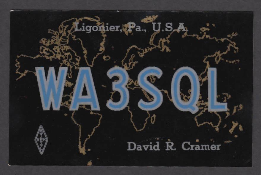 Image for WA3SQL David R Cramer Ligonier PA QSL postcard 1975
