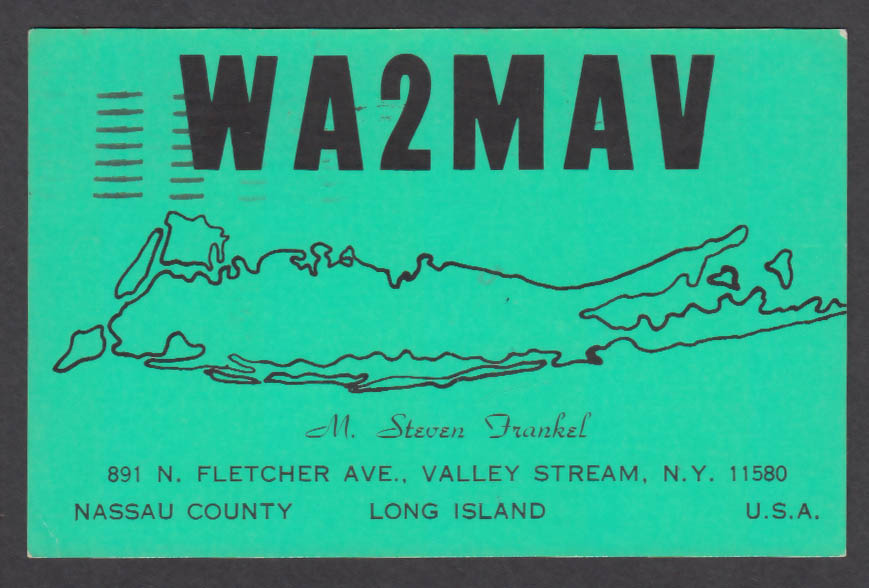 Image for WA2MAV Steven Frankel 891 N Fletcher Ave Valley Stream NY QSL postcard 1974