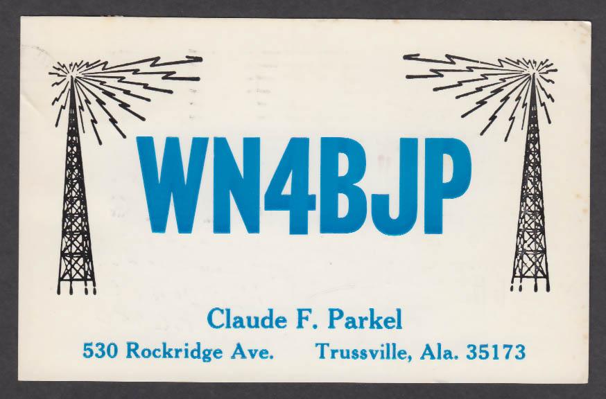Image for WN4BJP Claude Parkel 530 Rockridge Ave Trussville AL QSL postcard 1973