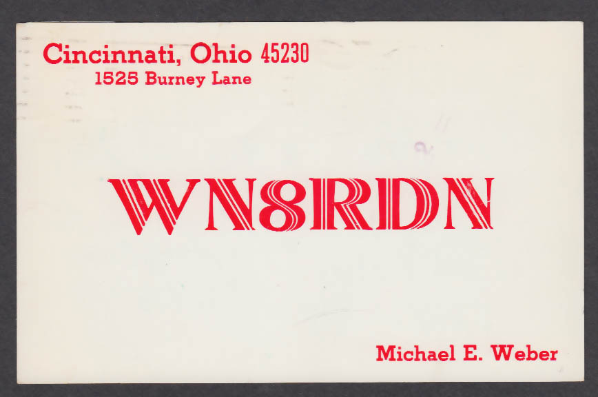 Image for WN8RDN Michael E Weber 1525 Burney Lane Cincinnati OH QSL postcard 1974