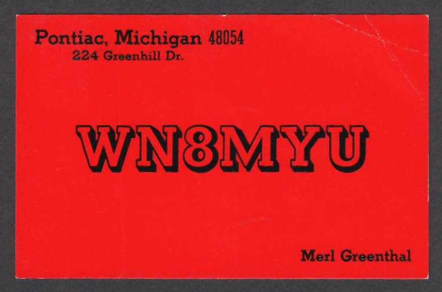 Image for WN8MYU Merl Greenthal 224 Greenhill Dr Pontiac MI QSL postcard 1973
