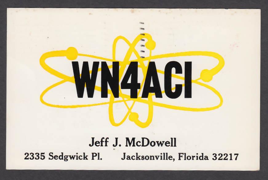 Image for WN4ACI Jeff McDowell 2335 Sedgwick Pl Jacksonville FL QSL postcard 1973