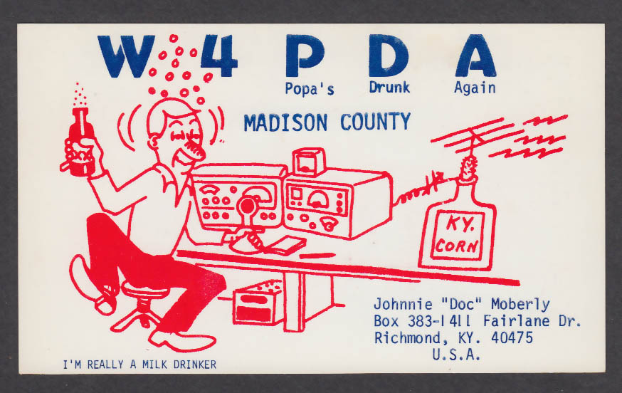 Image for W4PDA Johnnie Doc Moberly Richmond KY QSL postcard 1976