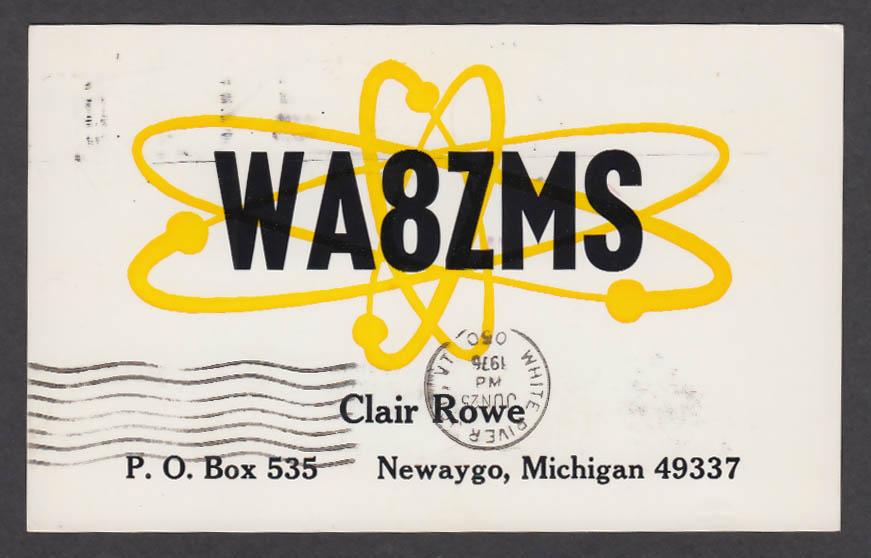 Image for WA8ZMS Clair Rowe Newaygo MI QSL postcard 1976