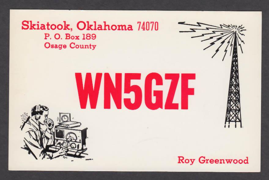 Image for WN5GZF Roy Greenwood Skiatook OK QSL postcard 1973